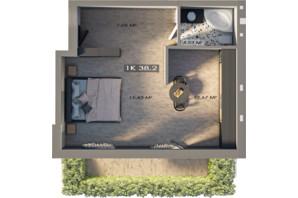 ЖК Клубне містечко 12: планування 1-кімнатної квартири 34.5 м²