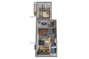 ЖК Клубне містечко 12: планування 2-кімнатної квартири 62.2 м²