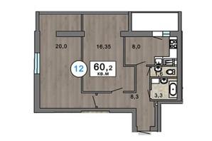 ЖК Клубний 7: планування 2-кімнатної квартири 60.2 м²