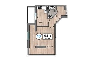 ЖК Клубний 7: планування 1-кімнатної квартири 44.4 м²