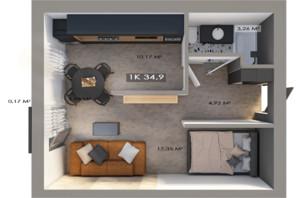 ЖК Клубный городок 12: планировка 1-комнатной квартиры 34.9 м²