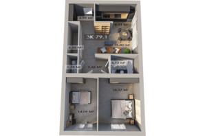 ЖК Клубный городок 12: планировка 3-комнатной квартиры 77.8 м²