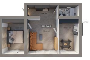 ЖК Клубный городок 12: планировка 2-комнатной квартиры 56.2 м²