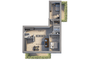 ЖК Клубный городок 12: планировка 3-комнатной квартиры 87.8 м²