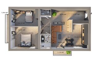 ЖК Клубный городок 12: планировка 3-комнатной квартиры 90.5 м²