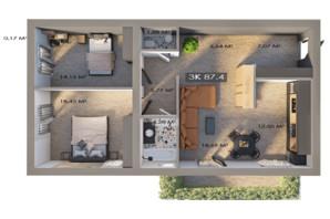 ЖК Клубный городок 12: планировка 3-комнатной квартиры 87.4 м²