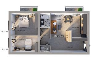 ЖК Клубный городок 12: планировка 3-комнатной квартиры 90 м²