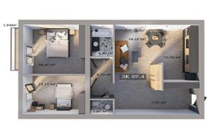ЖК Клубный городок 12: планировка 3-комнатной квартиры 89.4 м²