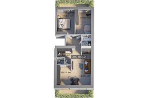 ЖК Клубный городок 12: планировка 3-комнатной квартиры 80.1 м²