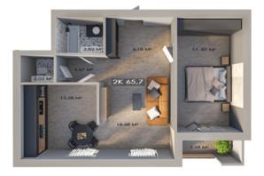 ЖК Клубный городок 12: планировка 2-комнатной квартиры 65.7 м²