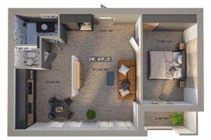 ЖК Клубный городок 12: планировка 2-комнатной квартиры 69.2 м²