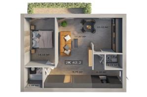 ЖК Клубный городок 12: планировка 2-комнатной квартиры 62.2 м²