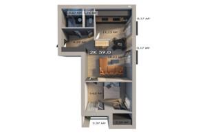 ЖК Клубный городок 12: планировка 2-комнатной квартиры 59 м²