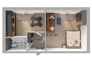 ЖК Клубный городок 12: планировка 1-комнатной квартиры 44.7 м²
