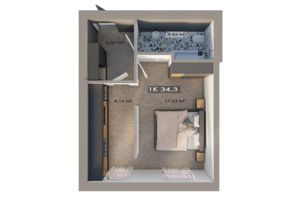 ЖК Клубный городок 12: планировка 1-комнатной квартиры 34.3 м²