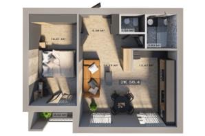 ЖК Клубный городок 12: планировка 2-комнатной квартиры 58.4 м²