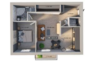 ЖК Клубный городок 12: планировка 2-комнатной квартиры 63.2 м²