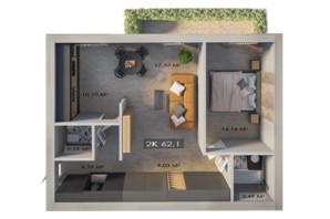 ЖК Клубный городок 12: планировка 2-комнатной квартиры 62.1 м²