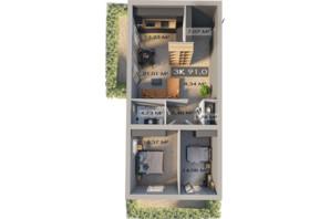 ЖК Клубный городок 12: планировка 3-комнатной квартиры 91 м²