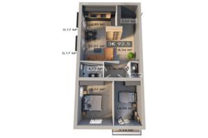 ЖК Клубный городок 12: планировка 3-комнатной квартиры 92.5 м²