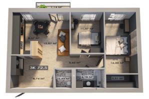 ЖК Клубный городок 12: планировка 3-комнатной квартиры 72.5 м²
