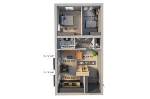 ЖК Клубный городок 12: планировка 3-комнатной квартиры 91.4 м²