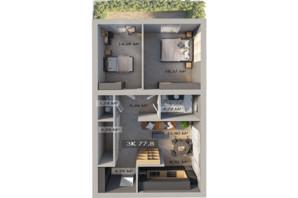 ЖК Клубный городок 12: планировка 3-комнатной квартиры 78 м²