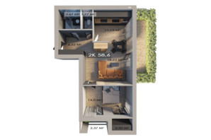 ЖК Клубный городок 12: планировка 2-комнатной квартиры 58.6 м²