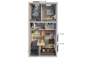 ЖК Клубный городок 12: планировка 3-комнатной квартиры 91.5 м²
