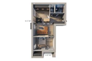 ЖК Клубный городок 12: планировка 2-комнатной квартиры 58.8 м²