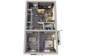 ЖК Клубный городок 12: планировка 3-комнатной квартиры 79.1 м²