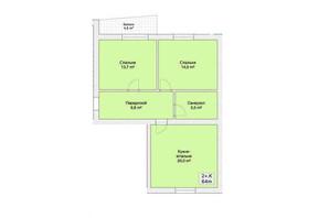 ЖК Княжий: планировка 2-комнатной квартиры 64 м²