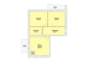 ЖК Княжий: планировка 2-комнатной квартиры 66 м²