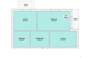 ЖК Княжий: планировка 2-комнатной квартиры 78 м²