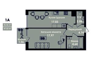 ЖК Kokos Avenue: планування 1-кімнатної квартири 47.52 м²