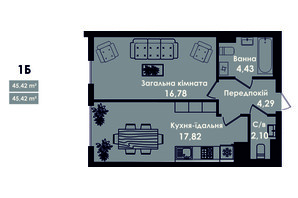 ЖК Kokos Avenue: планування 1-кімнатної квартири 45.42 м²