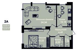 ЖК Kokos Avenue: планування 2-кімнатної квартири 62.43 м²