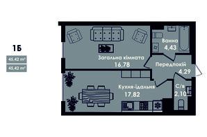 ЖК Kokos Avenue: планировка 1-комнатной квартиры 45.42 м²