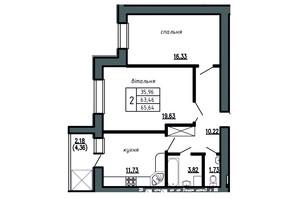 ЖК Комфорт Лайф: планировка 2-комнатной квартиры 65.64 м²