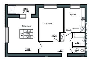 ЖК Комфорт Лайф: планировка 2-комнатной квартиры 74.83 м²