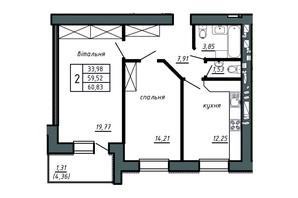 ЖК Комфорт Лайф: планировка 2-комнатной квартиры 60.83 м²