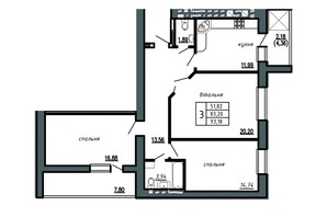 ЖК Комфорт Лайф: планировка 3-комнатной квартиры 93.18 м²