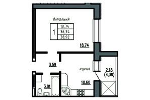 ЖК Комфорт Лайф: планування 1-кімнатної квартири 38.92 м²