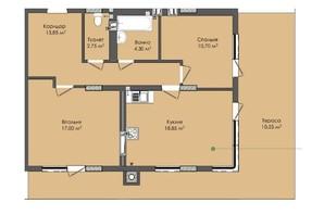 ЖК Комфорт Плюс: планировка 2-комнатной квартиры 78 м²