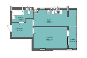 ЖК Комфорт Плюс: планировка 1-комнатной квартиры 43.7 м²