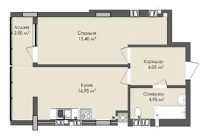 ЖК Комфорт Плюс: планировка 1-комнатной квартиры 47 м²