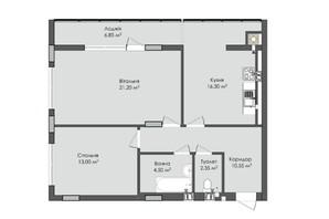 ЖК Комфорт Плюс: планировка 2-комнатной квартиры 74.75 м²