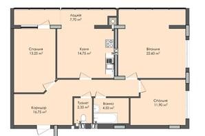 ЖК Комфорт Плюс: планировка 3-комнатной квартиры 93.8 м²
