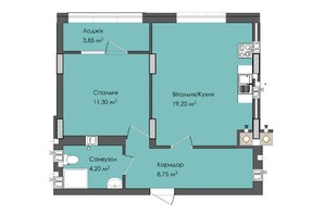 ЖК Комфорт Плюс: планировка 1-комнатной квартиры 47.3 м²