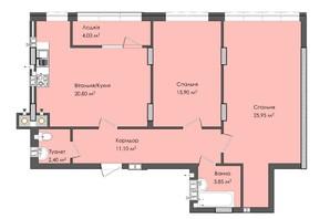 ЖК Комфорт Плюс: планировка 2-комнатной квартиры 84 м²